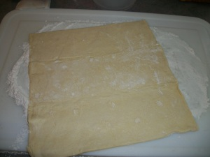 Roll out thawed pastry dough to fit baking dish.