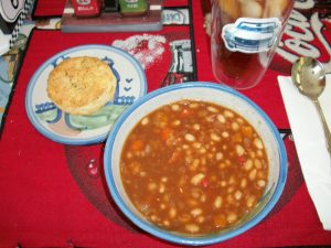 Biscuits and BBQ Beans lunch. Yum!