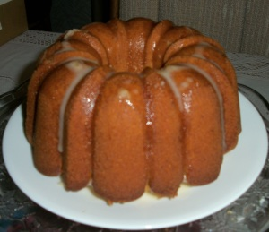 Top cooled cake with optional glaze
