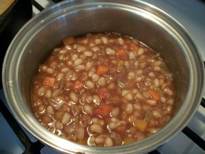 Cover and simmer until beans are tender.